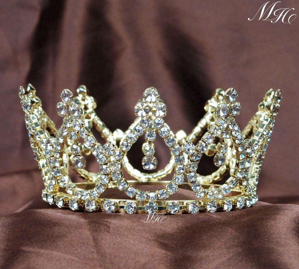 Crowns full circle round tiaras rhinestones crystal wedding bridal - Pretty Small Round Tiaras Gold Tone Mini Crowns Rhinestones Crystal Quniceanera Wedding Bridal Pageant Prom Party