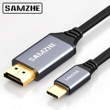SAMZHE 4 K * 2 K ประเภท C ถึงสาย HDMI 30Hz ความละเอียด USB C to HDMI Adapter สำหรับ apple Macbook XiaoMi Air MateBook HuaWei และโทรศัพท์