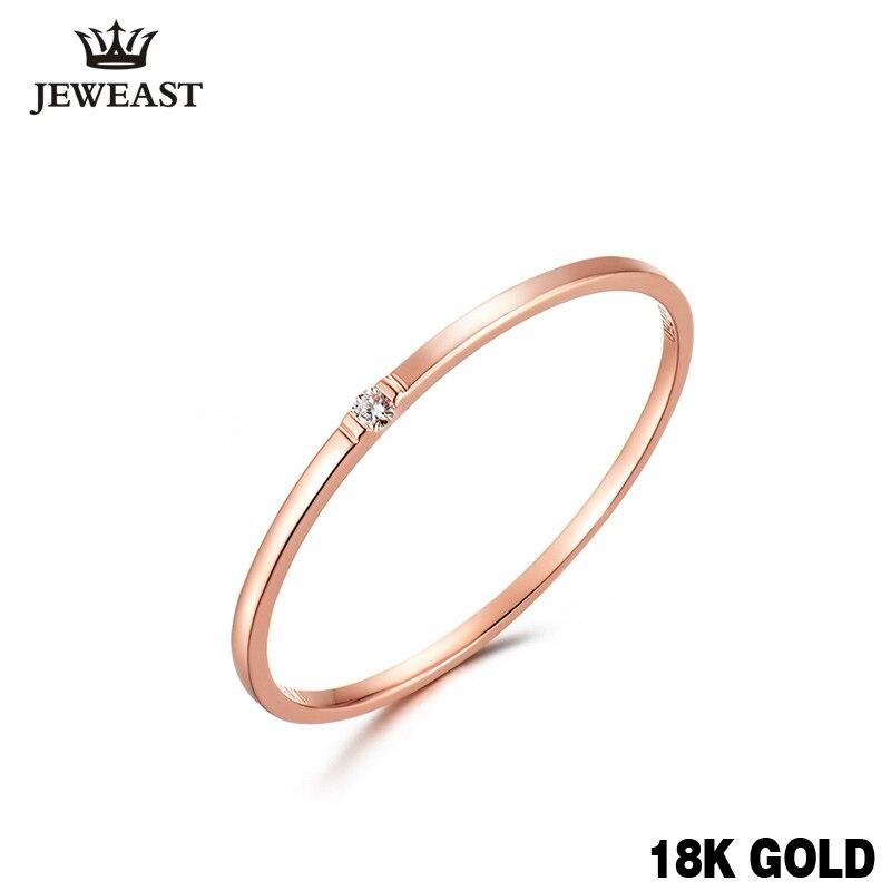Натуральный кольцо с бриллиантом 18 К из чистого золота классический девушке подарок Для женщин Лидер продаж вечерние Мода Новый 2017 скидка х...