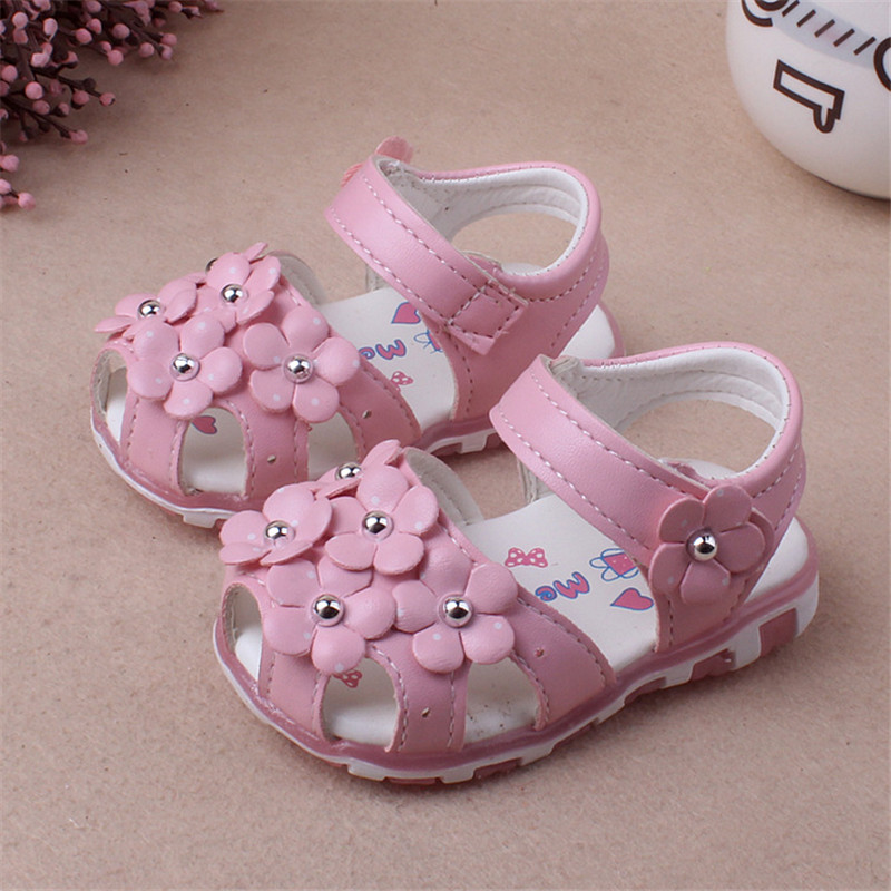 2017 New Summer Baby Girl Shoes Cute Floral Princess First Walkers Enfant PU Leather Shoes For Party 1 -3 Years