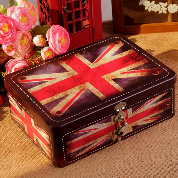 AIBEI-Zakka Retro Tin Boxes with Lock secret the British flag London Letter Candy Box Accessories 18*25*8.5cm
