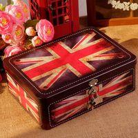 Tajne AIBEI-Zakka Retro Blaszanych Pudełkach z Zamkiem flagi Brytyjskiej Londyn List Cukierki Box Akcesoria 18*25*8.5 cm