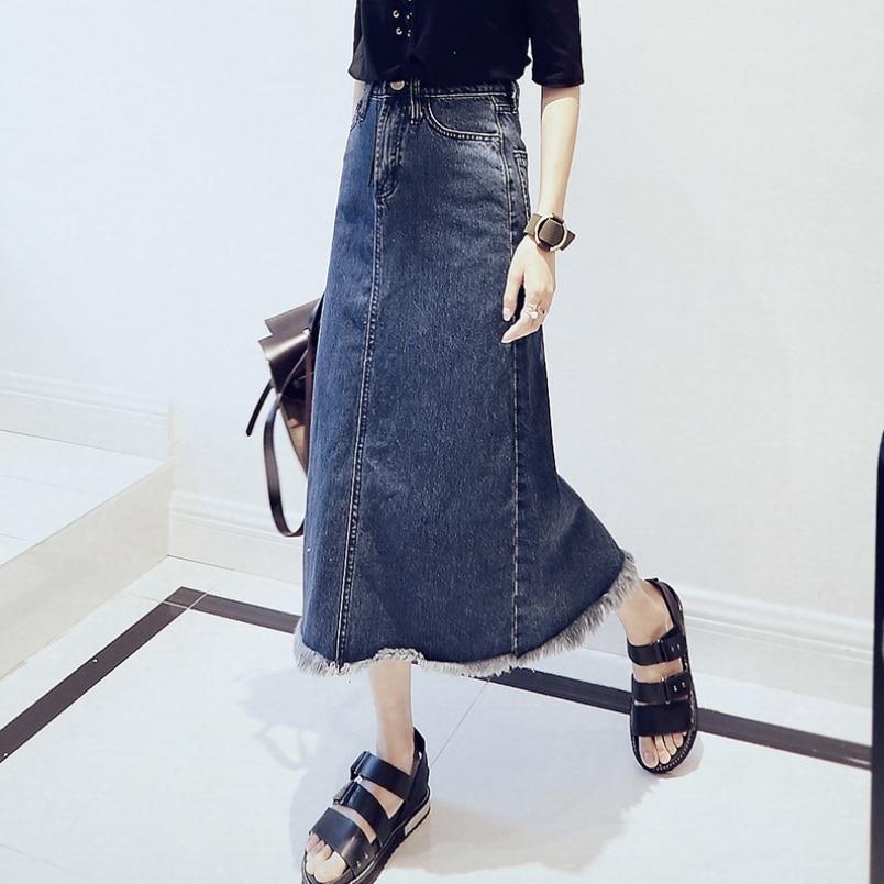 Printemps automne femmes mode Emprire Hip paquet jupe fente gland Denim jupe bleu S/M/L