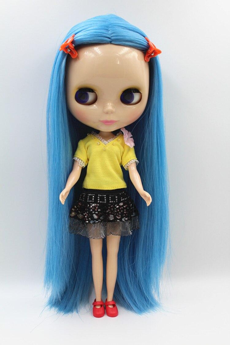 Blygirl Doll Blue Medium Hair Blyth Body Doll Fashion Can Change Makeup Fashion Doll