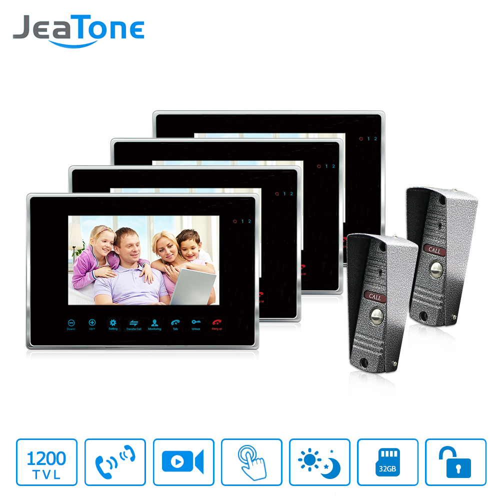 JeaTone 7 inch Wired Video Door Phone Video Intercom Hands-free Intercom System With Waterproof Outdoor IR Night Camera 7 inch rain proof lens adjustable wired intercom video door phone with two outdoor camera