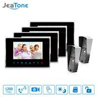 JeaTone 7 Inch Wired Video Door Phone Video Intercom Hands Free Intercom System With Waterproof