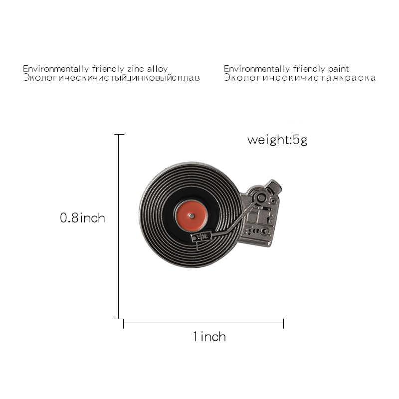 Qihe Perhiasan Vinyl Record Pemain Pin Vintage Record Player Bros Pinback Hadiah untuk Klasik Musik