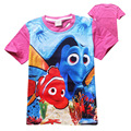 Girl t-shirt Finding nemo finding dory Short sleeve 3 colors cartoon T shirt kids summer clothes
