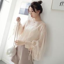 Новая Корейская версия свободной вышивки звезд фонарь рукав двухсекционная шифоновая рубашка Женская куртка