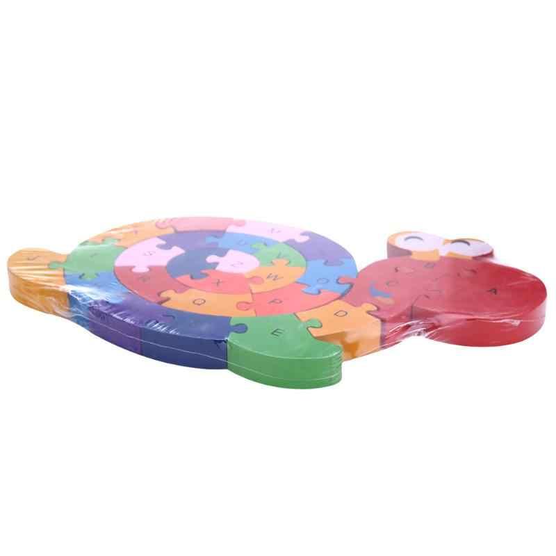 เด็กไขลานสัตว์ปริศนาของเล่นเด็กหอยทากไม้จิ๊กซอว์ปริศนาของเล่นเด็กการศึกษาของเล่นเด็กใหม่ 26 ตัวอักษรปริศนา