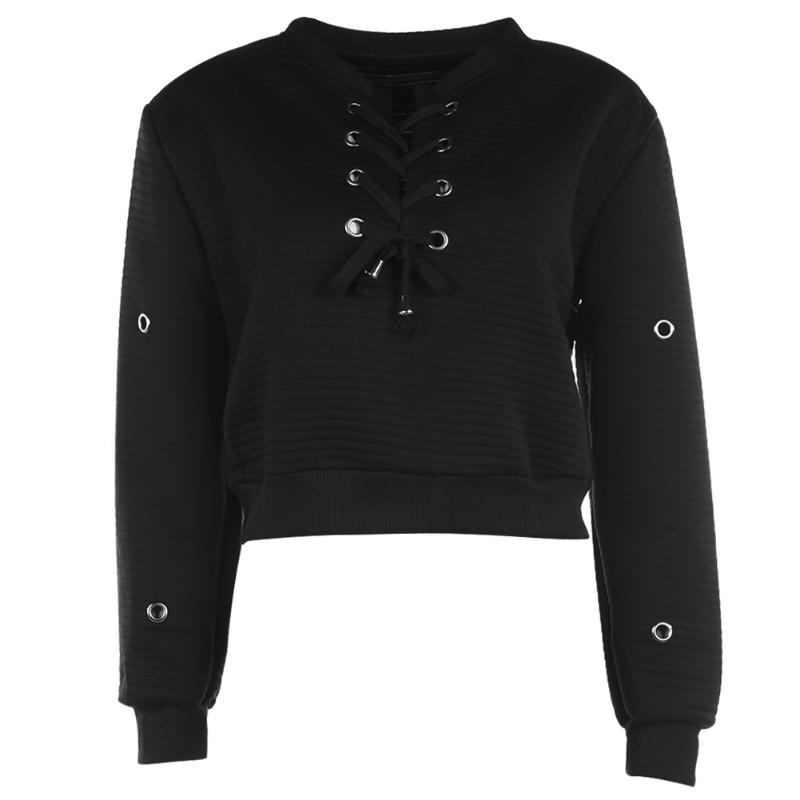 Solid Autumn Spring Women Sweatshirt Round Collar Fashion Pullover Girls Fashion Loose Bandage Casual Long Sleeve Black Tops