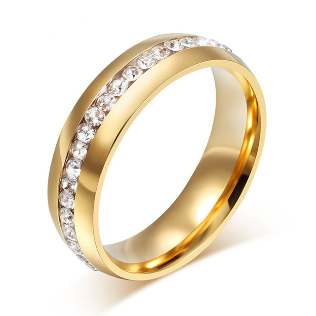 2019 New Fashion One Row Crystal Rings for Women Gold /Silver Color Stainless Steel Wedding Jewelry