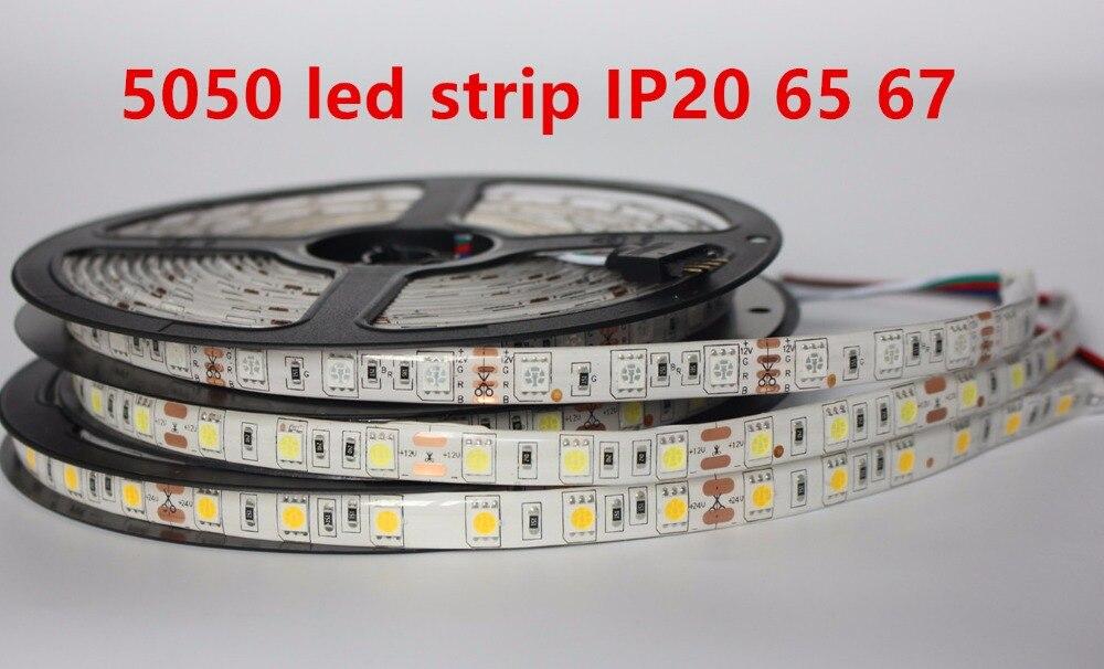 Tira conduzida 5050 dc12v 60 leds/m 5 m/lote flexível conduziu a luz rgb 5050 tira conduzida ip20 65 67 impermeável e não impermeável