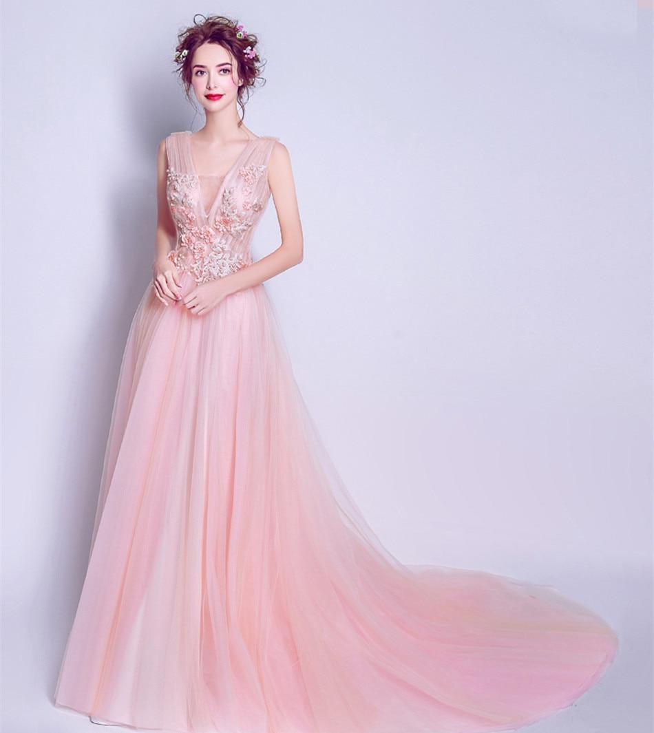Socci Weekend 2017 Rosa largo Vestidos de noche sexy Deep V cuello ...