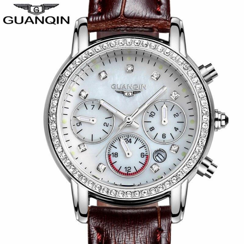 GUANQIN Watches Women font b Leather b font Strap Quartz Watch Luxury Luminous Date Clock Ladies