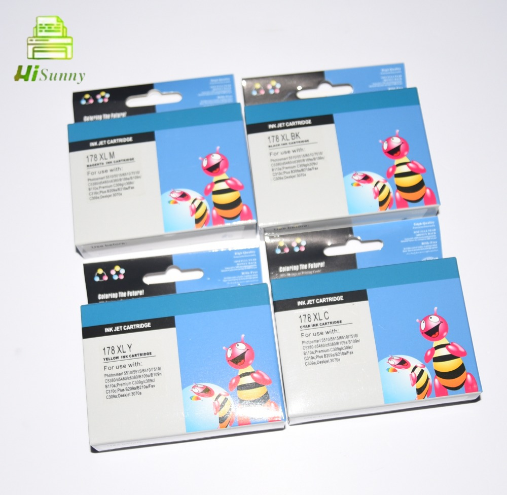 1sets For HP 178 for <font><b>HP178XL</b></font> for HP Photosmart 5510 5515 6510 7510 B109a B109n B110a Printer Ink Cartridge With Chips image