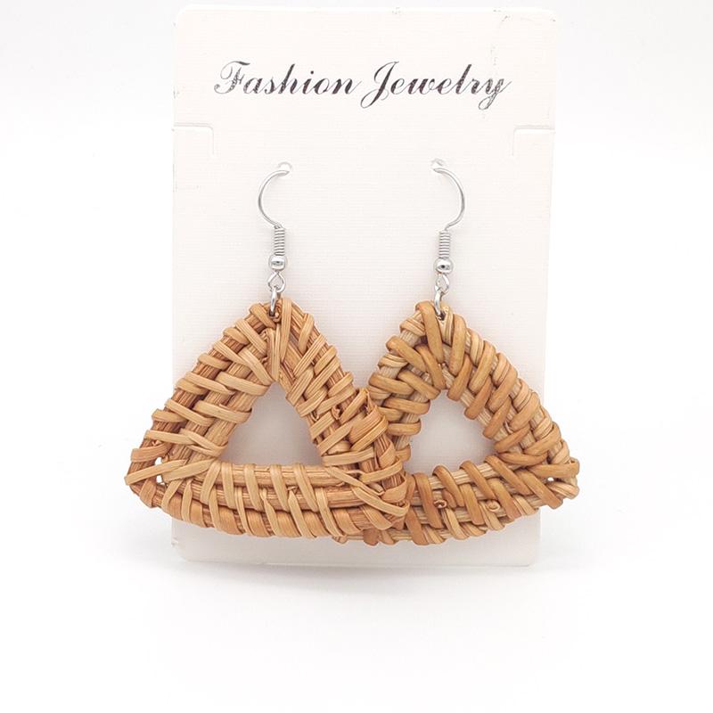 Bohemian Wicker Rattan Knit Pendant Earrings Handmade Wood Vine Weave Geometry Round Statement Long Earrings for Women Jewelry 22