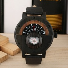 цены 2019 Creative Bamboo Wooden Watch Leather Band Leisure Fashion Men Wristwatch Nature Handmade Quartz Movement Mens Wooden Watche