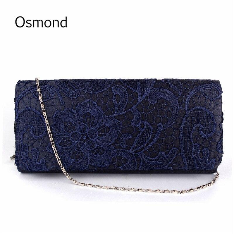 Osmond Bolsas de Dama de Noche de Raso de Novia de La Boda de Encaje Floral Embr