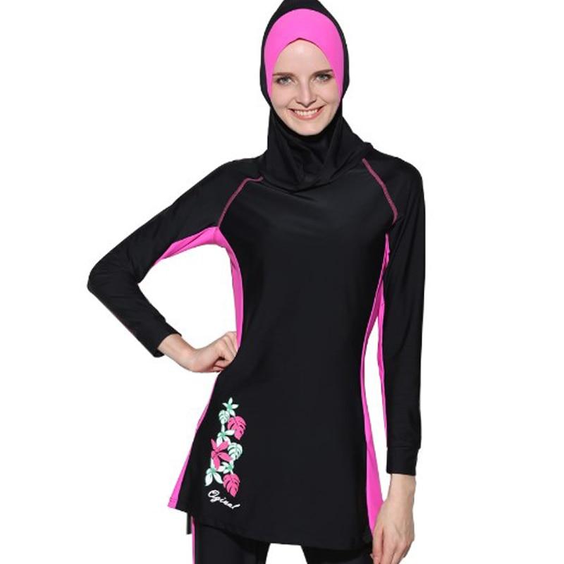 61d0adea72a7 € 35.3 |Trajes de baño islámicos para mujer, ropa de baño musulmana, con  gorra, trajes de baño islámicos, novedad 2017, trajes de baño ...