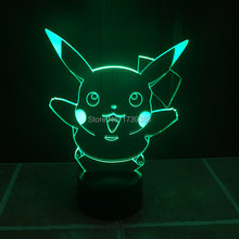 Color changing Flashing touch sensor control Pokemon Go pikachu Arcylic 3D LED Night Light USB 3D LED Pokemon birthday Lamps