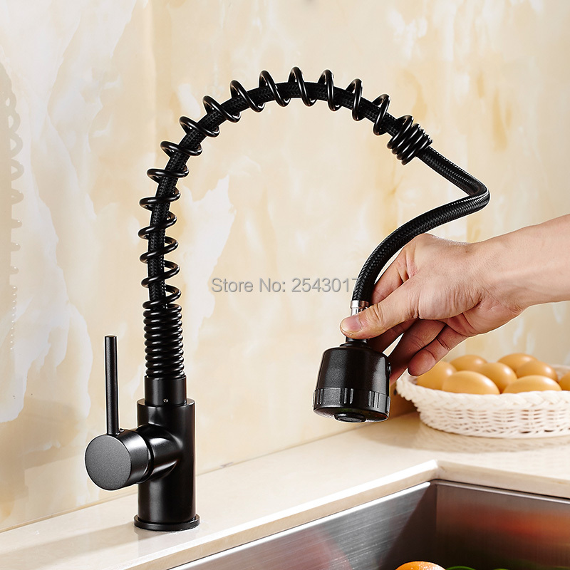 New Arrivals Kitchen Pull Out Faucet Black Finish Flexible Spring Hot and Cold Mixer Taps Deck