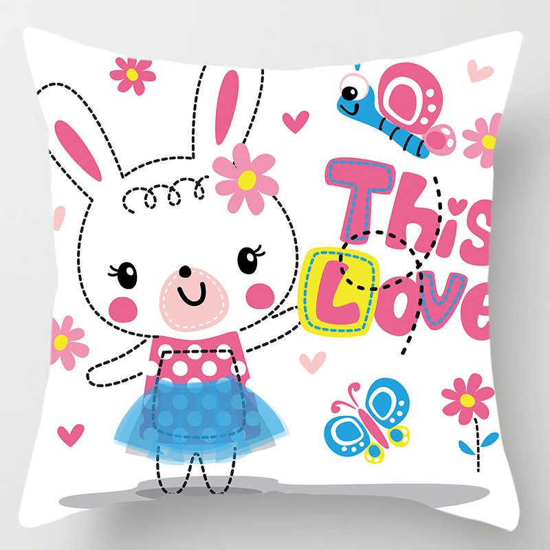 حار بيع لطيف الفتيات الكرتون كيس وسادة s مربع كيس وسادة لطيف الكرتون أرنب تغطي حجم 45*45 سنتيمتر