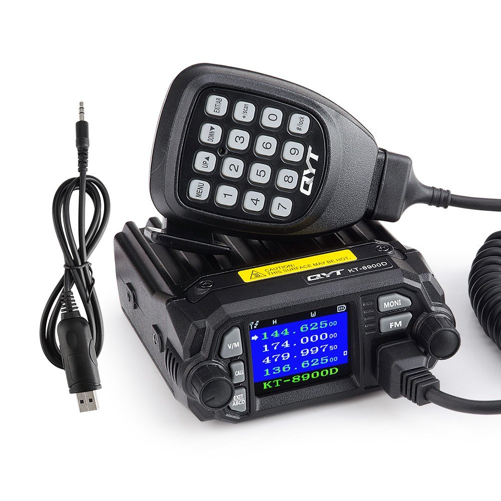 QYT KT 8900D 25W Vehicle Mounted Two Way Radio with Programming Cable Upgrade KT 8900 Mini