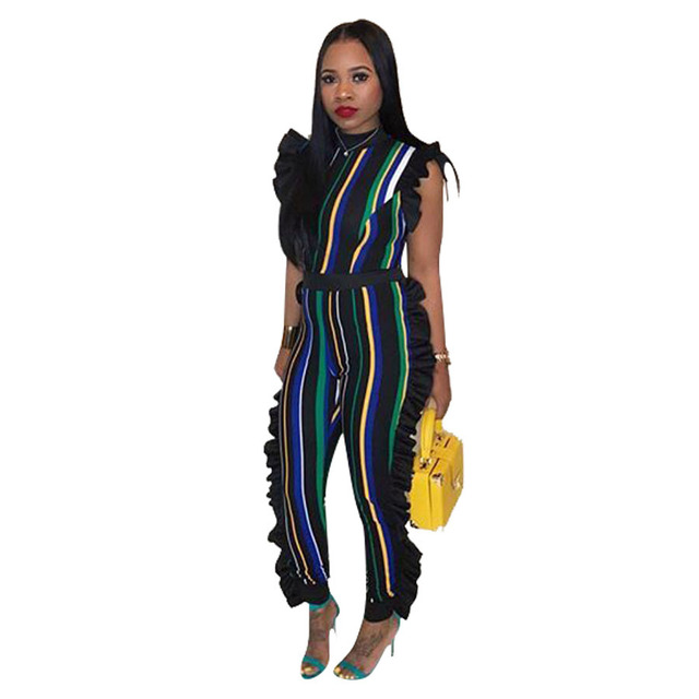 334c92a6c7de0 Women s Sexy Stirped Flounce Plus Size Jumpsuits Full Length Straight  Sleeveless Casual Jumpsuits 5 colors 2018 Hot Sale