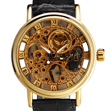 Hot Sales Mens Gorgeous Ultra-thin Golden Hollow Carve Dial Luxury Mechanical Clock Watch 5V87