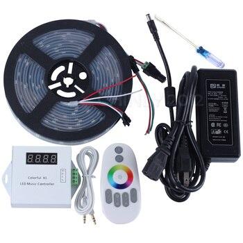 DC5V 5 m/10 M/15 M/20 m 150 leds ws2812b direccionable individualmente tira led del pixel impermeable + control remoto controlador de Música + fuente de alimentación