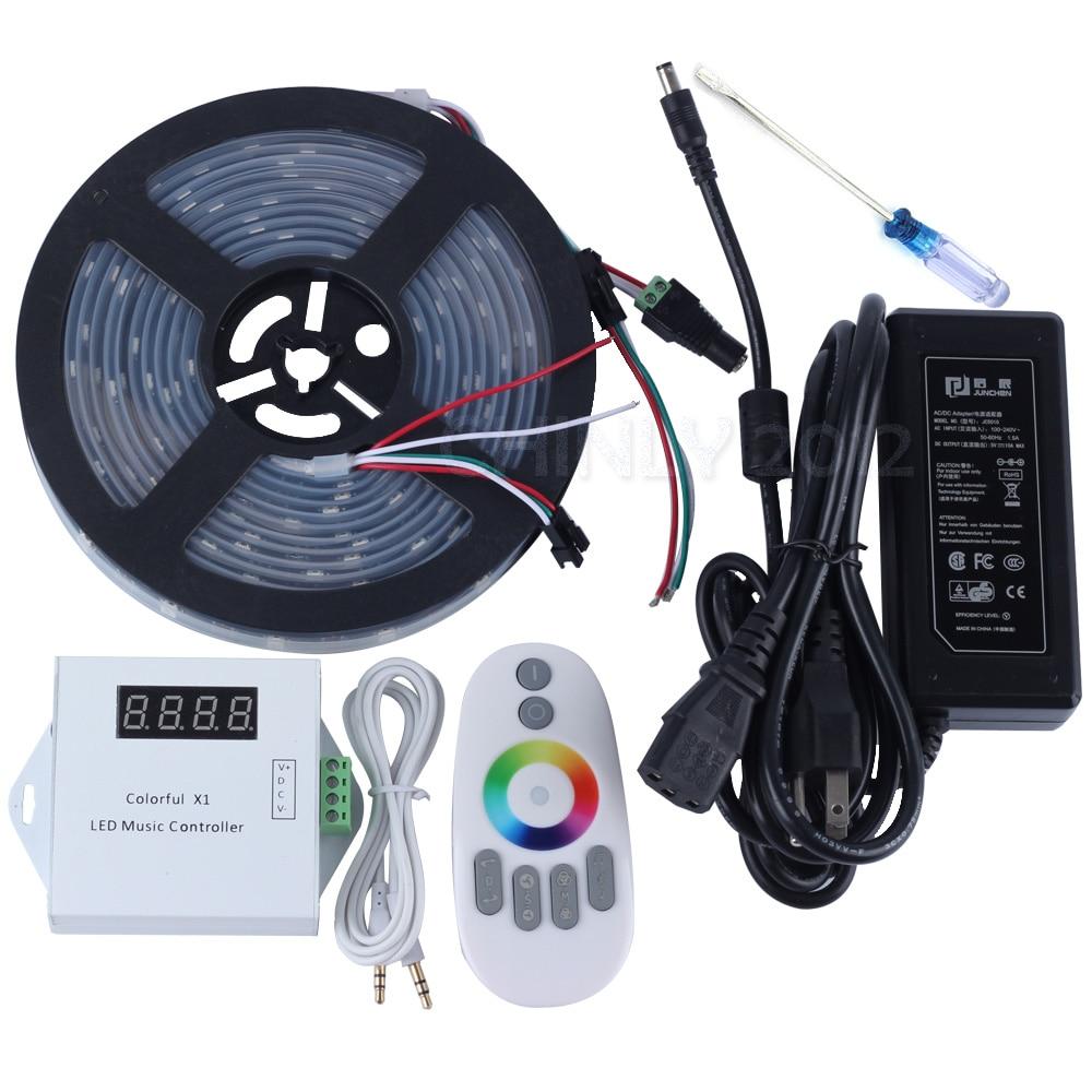 DC5V 5 m/10 m/15 m/20 m 150 led ws2812b Individuellement Adressable a mené la bande de pixel imperméable à l'eau + Télécommande contrôleur de musique + alimentation