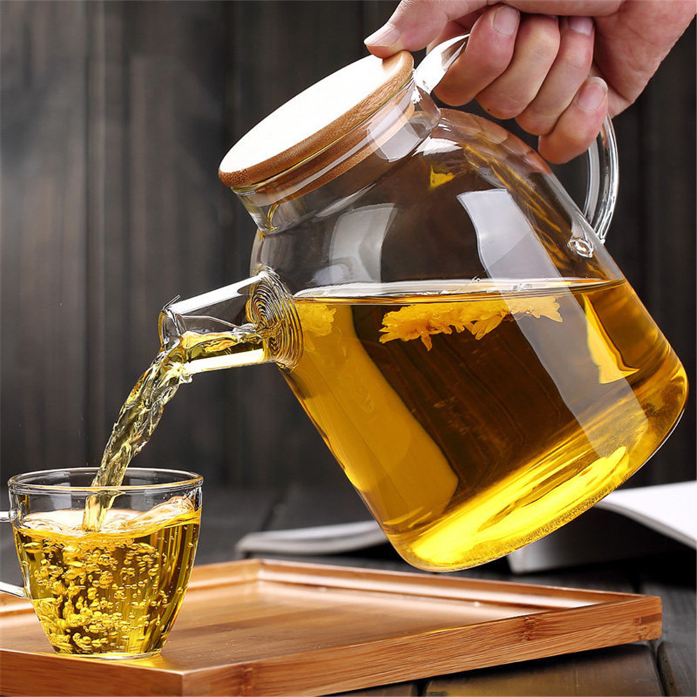 Newest Heat-Resistant Borosilicate Glass Tea Pot Kettle Hot Cold Resistant Dual Use Bamboo Teapot for Coffee shop supplies
