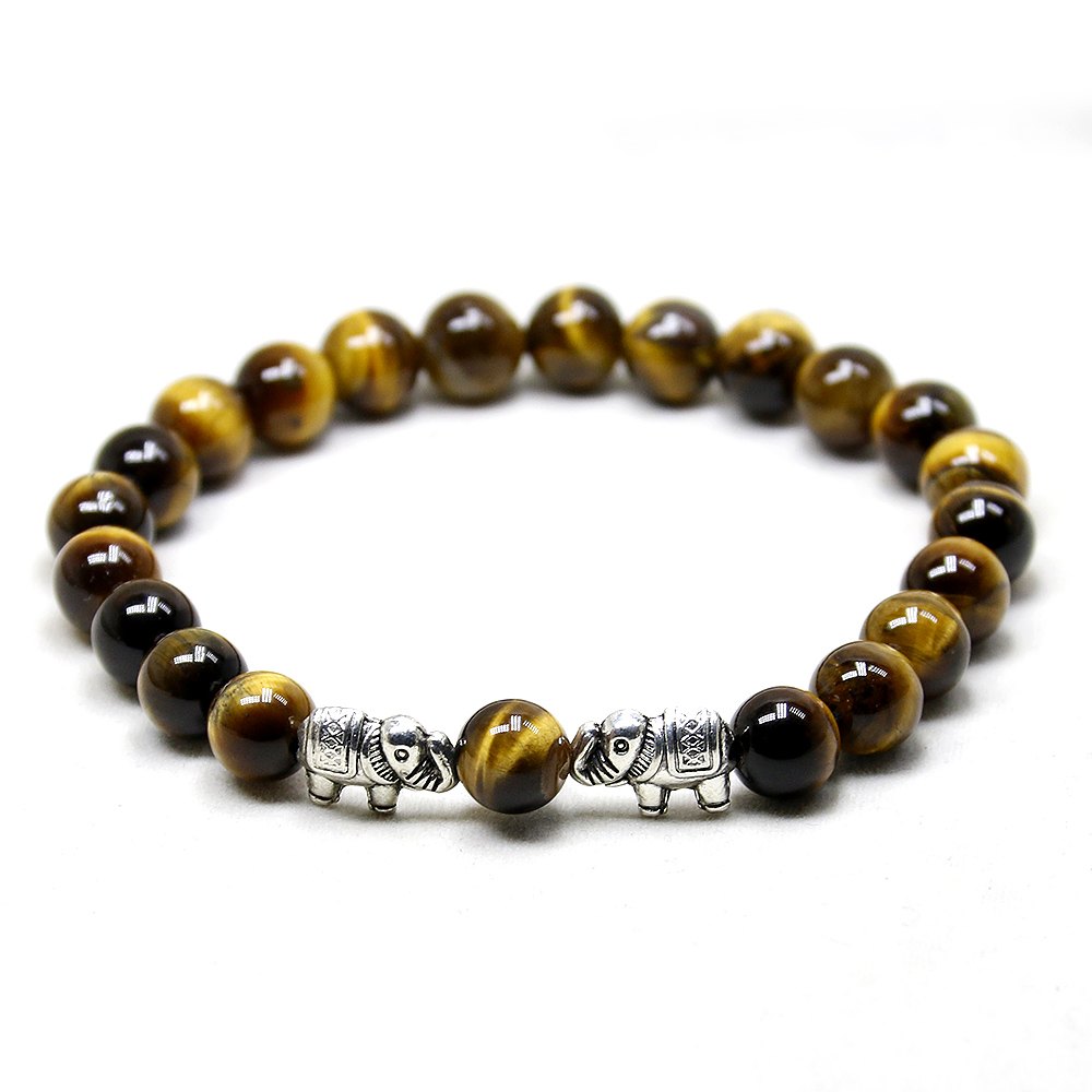 Lava Onyx Bracelet Elephant Tiger Eye Stone Bracelet Stretch Mens Bracelet Gift for Him,Buddha Women Bracelet