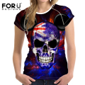 FORUDESIGNS New Korean Style Cool Skull Head Print Women Shirts T Shirt O Neck Short Sleeve Cotton Tee Shirt Supreme Casual Tops