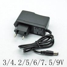 100-240 В AC адаптер конвертер DC 3/4. 2/5/6/7,5/9/12 V 1A/1000mA Питание Зарядное устройство EU Plug 5,5 мм* 2,5 мм(2,1 мм) схема соединений для настройки переменного тока в постоянный