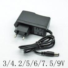 Adaptador conversor ac 100-240v dc 3/4.2/5/6/7. carregador de fonte de alimentação, 5/9/12 v 1a/1000ma plugue da ue 5.5mm * 2.5mm(2.1mm)) ac para dc