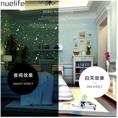 Luminous non - woven wallpaper fluorescent children 's bedroom  wallpaper glowing stars moon roof cartoon 3D  wallpaper non woven luminous wallpaper roll stars and the moon boys and girls children s room bedroom ceiling fluorescent home wallpaper