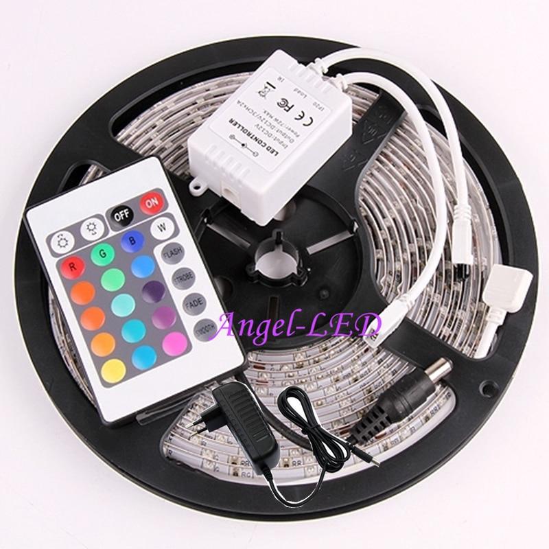 Free Shipping 5M 3528 300leds SMD Flexible 60leds/m LED Strip Light + 24 Keys IR Remote Controller Mini +12V 2A Power Adapter
