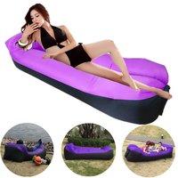 2018 New Hamaca Inflatable Lounger Portable Air Sofa Beach Hammock Nylon Banana Air Sleeping Lazy Bag Lazybag Pillow for Camping