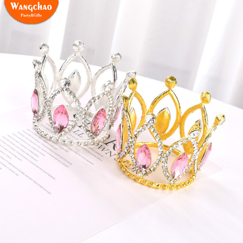 1pcs Shining Pink Diamonds Crown 7*6cm Cake Decoraion Happy Birthday Toppers Wedding & Engagement Supplies