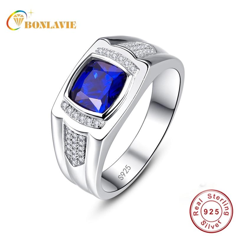 BONLAVIE Classic Blue Sapphire Wedding Ring For Men Genuine 925 Sterling Silver Natual Stone Rings Hombre