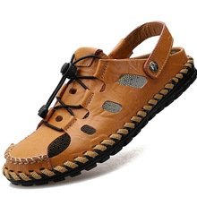 STAN SHARK/Удобная мужская летняя обувь; кожаные сандалии; мягкие сандалии; мужские удобные летние сандалии в римском стиле; большие размеры 38-48