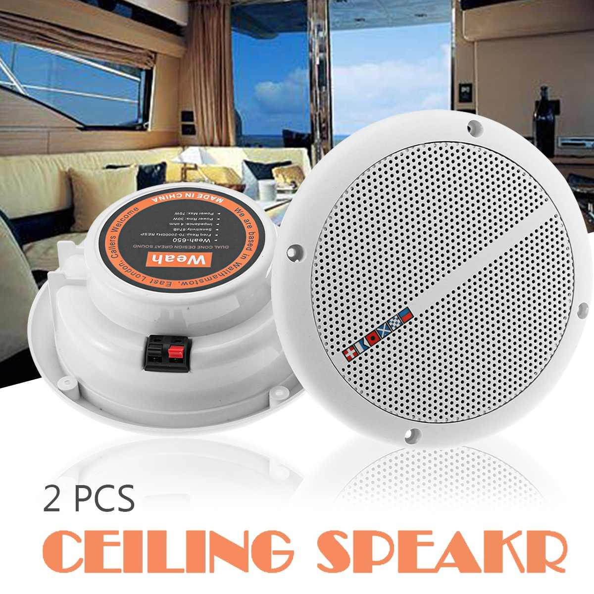 1Pair 25W Full Range Ceiling Wall Speakers Waterproof Loundspeaker Home Theater Bathroom Marine Boat Water Resistant Speaker