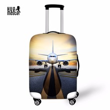 Купить с кэшбэком aircraft suitcase protective covers 18 to 32 inch elastic luggage dust cover case stretchable Waterproof luggage cover
