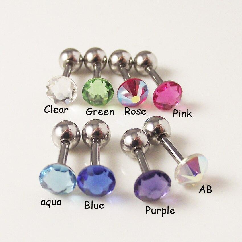 Купить 1 шт 316l хирургическая штанга нержавеющая сталь цвет cz кристалл