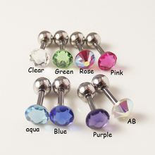 1 Piece 316l Surgical Stainless Steel Barbell Color CZ Crystal Tragus Ear Helix Body Piercing Jewelry