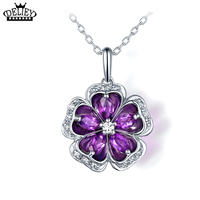 DELIEY Natural Amethyst Plum Blossoms Flower Pendants Necklaces 925 Sterling Silver Romantic Fine Jewelry For Women