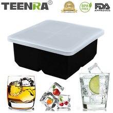 TEENRA – moule à glaçons en Silicone, 4 trous carrés, plateau à glace avec couvercle, boules de glace en Silicone, forme de sphère ronde, couvercle de cuisine