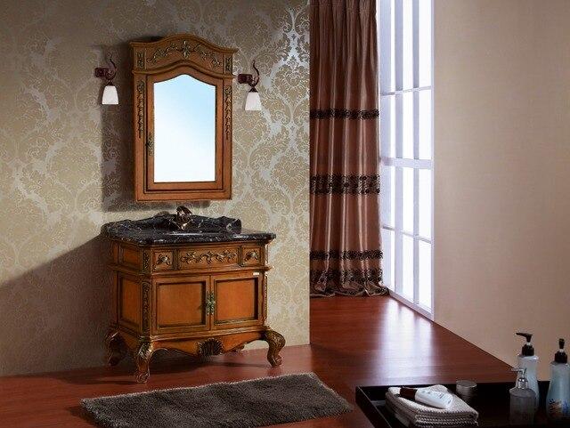Armoire de salle de bain en bois massif couleur bois design ...